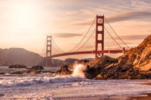Golden Gate Bridge, Golden Hour, San Francisco, California, Backlight
